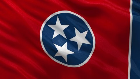 US state flag of Tennessee gently waving in the wind. Seamless loop with high quality fabric material.