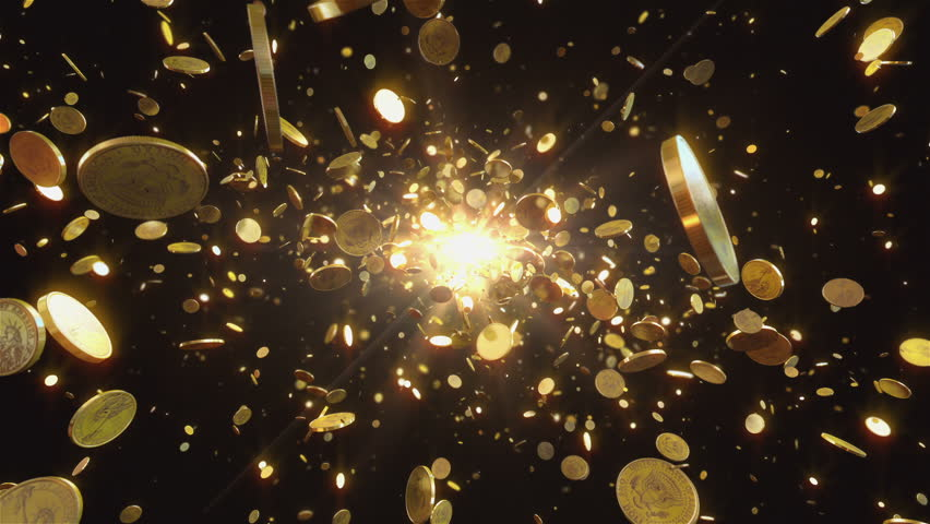 Coins flight. Animation shows the coins flying towards the camera. This one dollar coins is gold. Animation best suitable for all kinds of animated backgrounds on events. | Shutterstock HD Video #6269210