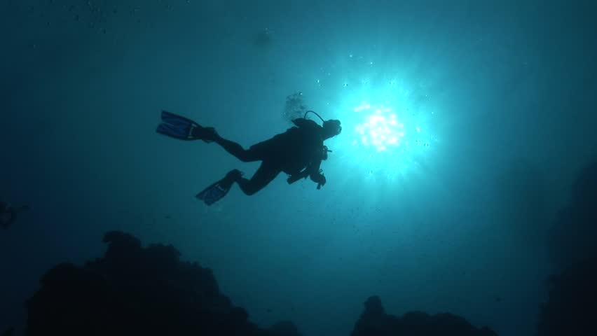 Divers in backlight in crystal clear water | Shutterstock HD Video #6271685