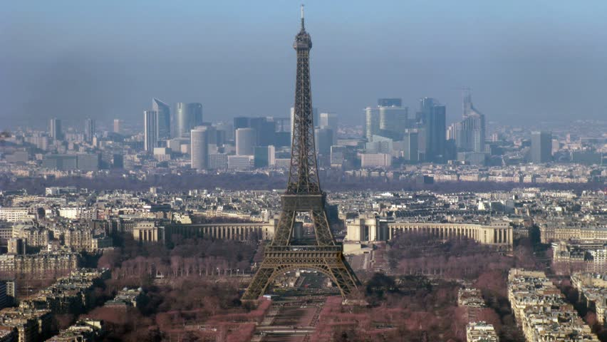 View on city with Tour d'Eiffel on the center. Paris, France. Time lapse.  | Shutterstock HD Video #629431