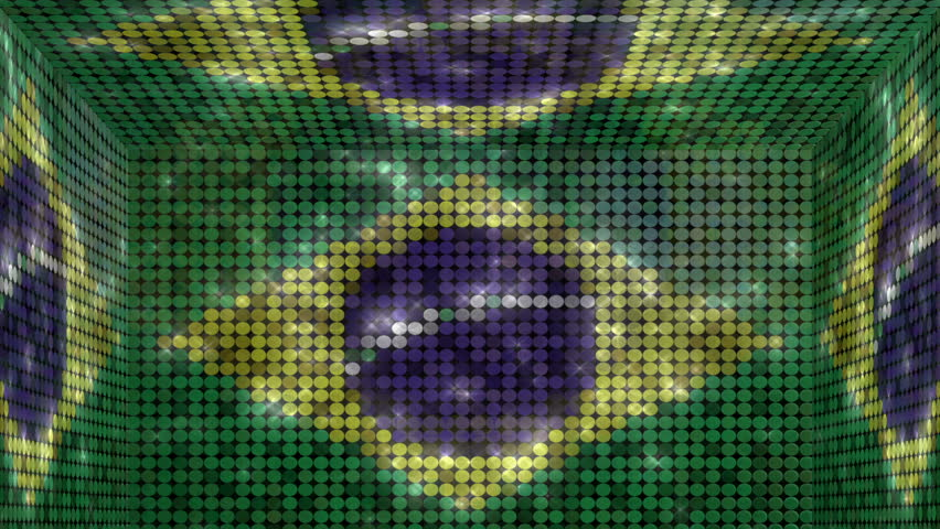 Brazil box title plate transition - Alpha matteAnimation in-n-out of the brazilian flag glitter lights cube. Use for title plates, transition and background. Full HD | Shutterstock HD Video #6313151