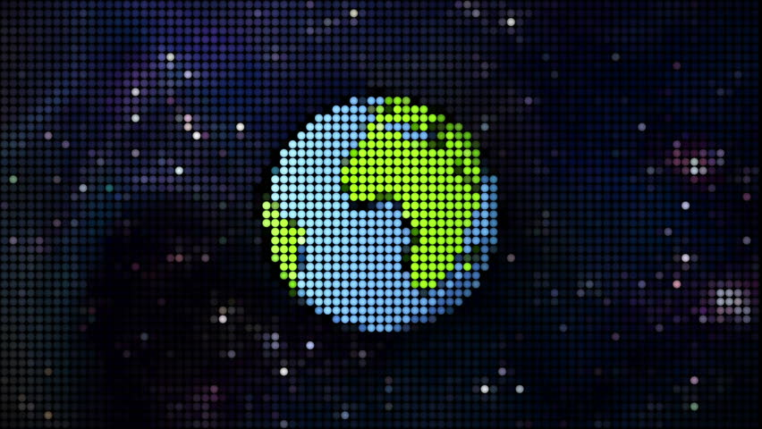 cartoon earth in pixels background
