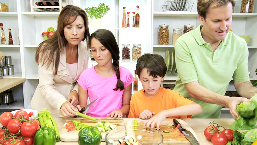 Home Kitchen Cooking healthy professional caucasian family cooking home kitchen