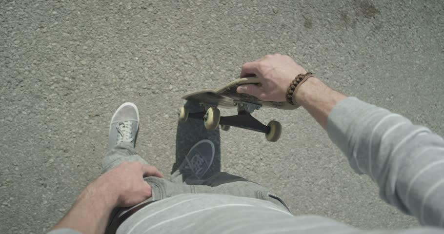 SLOW MOTION: Skater spinning the skateboard | Shutterstock HD Video #6347288