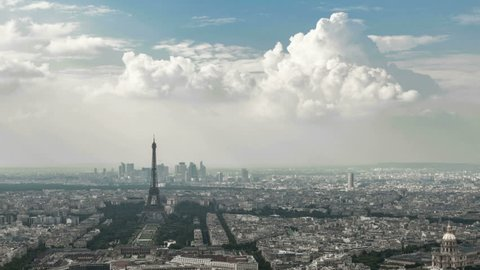 Paris Cityscape timelapse overview of the city, dolly out, zooming outward