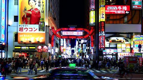 Tokyo,Japan - April 26:Night time shot of Kabukicho in Tokyo on  April 26, 2014. Kabukicho is one of the most famous nightlife district in Tokyo.