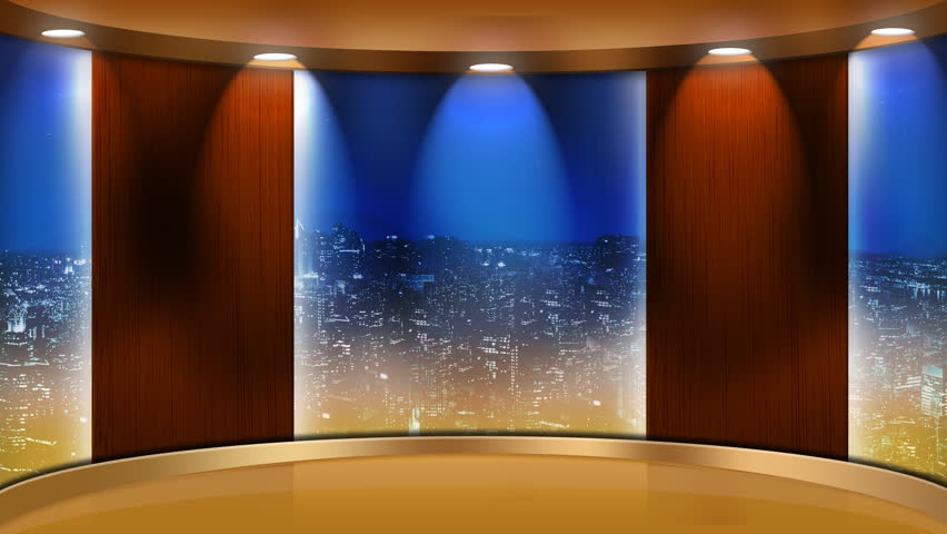Virtual Studio Set Background with Main Monitor and background monitors.  The backdrop features a modern city skyline at night.