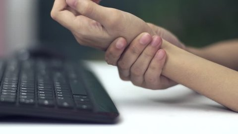 Woman Hand Pain From Using Keyboard
