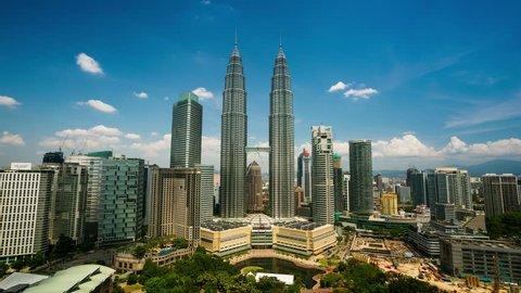 KUALA LUMPUR, MALAYSIA - CIRCA FEB 2014: 4K timelapse, cloudscape view of the Petronas Twin Towers and Kuala Lumpur City Center. Super high quality, 4k resolution (4096x2304).