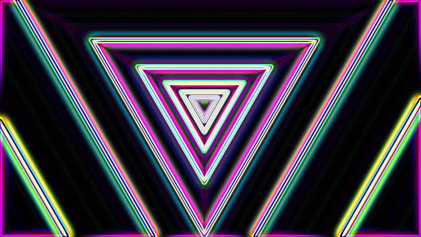 Neon lights vintage triangles tunnel loop - 1080p