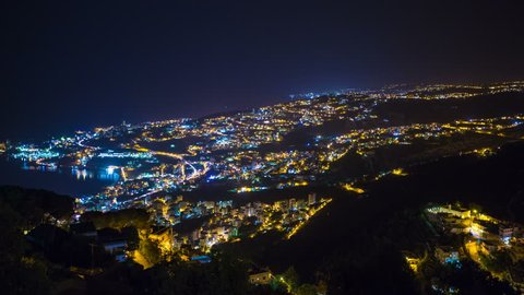 A night time-lapse view of the city of Jounieh in Lebanon. Jounieh is close to Beirut and sits along the Mediterranean Sea.