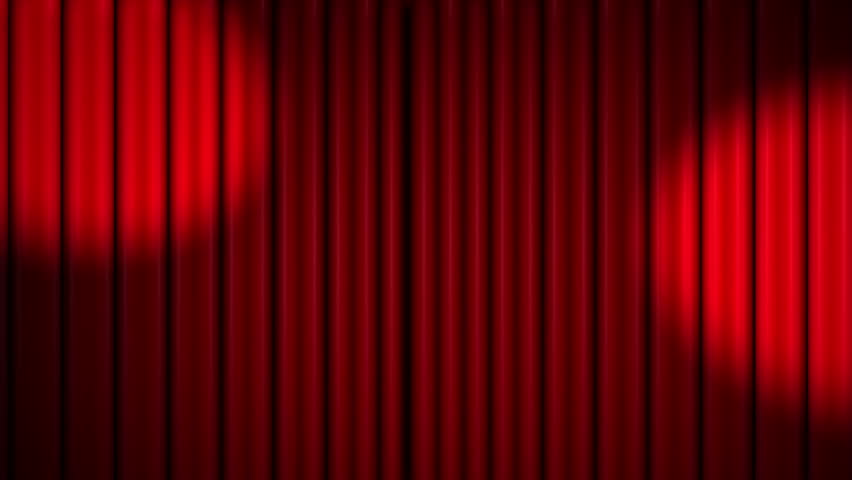 Red theater velvet curtains opening with spotlights, and closing | Shutterstock HD Video #6524501