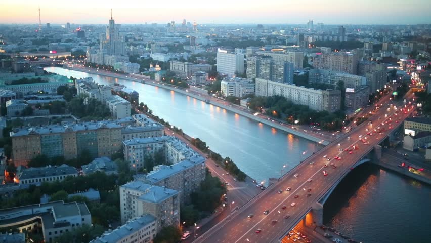 Moskva River and Building on Kotelnicheskaya Embankment at evening in Moscow, Russia. View through window | Shutterstock HD Video #6530681