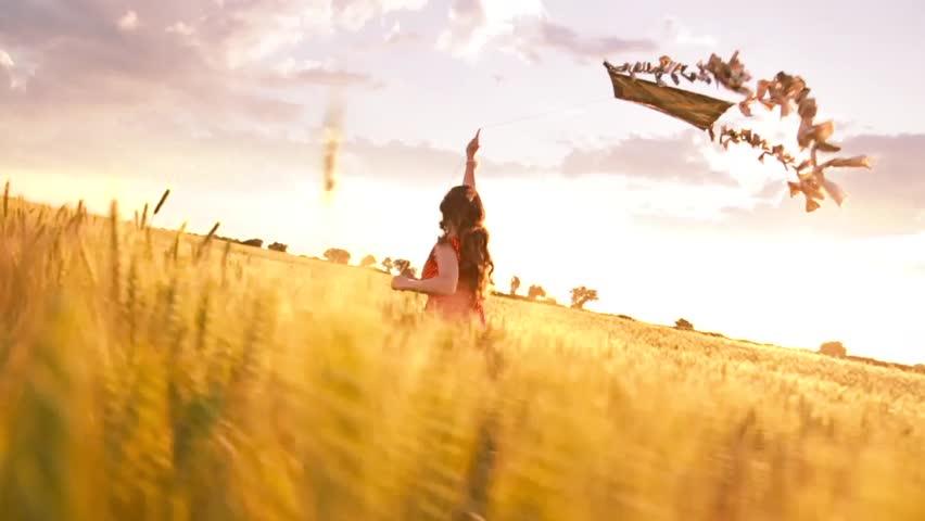 Beautiful Girl Running Summer Field Sunset Kite