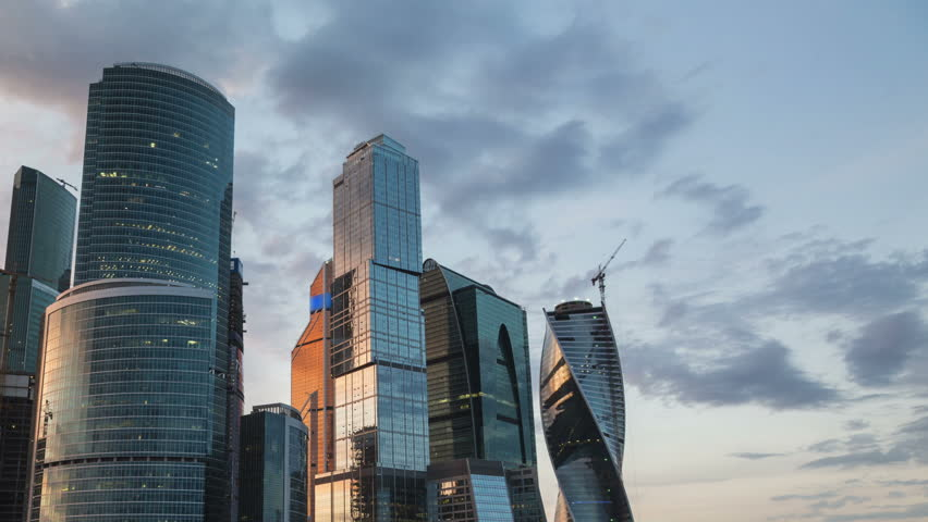 (Time lapse) Moscow International Business Center so-called Moscow-City skyscrapers, consist of business, residential and lifestyle clusters, on June 8, 2014 in Moscow, Russia.