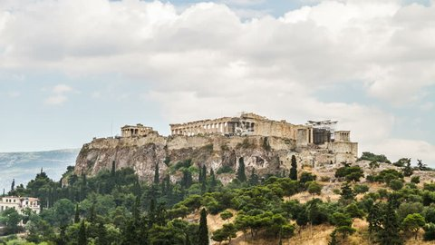 Acropolis Parthenon view on a rainy day, Athens, Greece -  Zoom In , Timelapse, 4K Ultra High Definition, 4096X2304