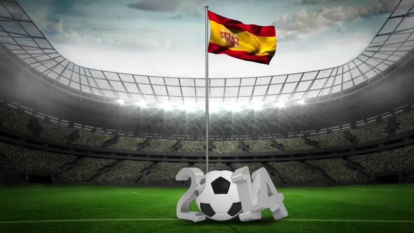 Spain national flag waving on flagpole with 2014 message on football stadium with flashes | Shutterstock HD Video #6566969