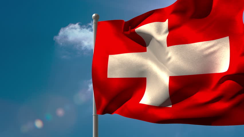 Swiss national flag waving on flagpole on blue sky background | Shutterstock HD Video #6567881