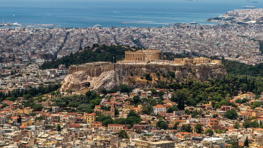 Acropolis Parthenon, Athens, Greece,Tilt-UP , Timelapse - 1920X1080