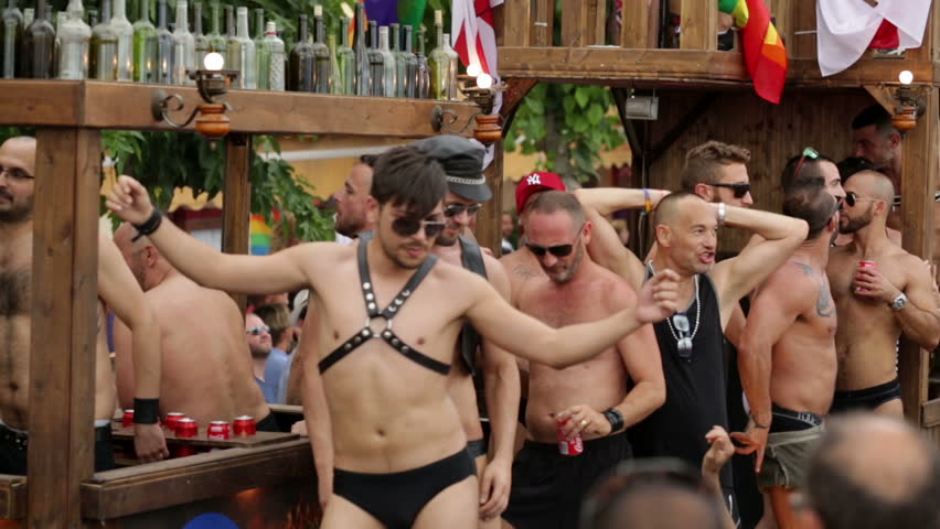 SITGES, SPAIN - JUNE 15, 2014: Procession in last day of Gay pride parade  in Sitges