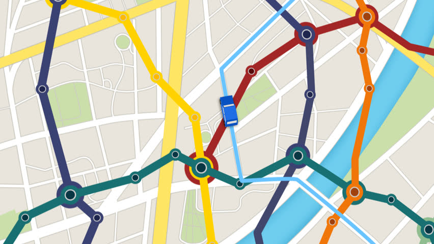 Elevated View Of Car Moving Forward On Gps Navigator with colorful city metro scheme.   Shutterstock HD Video #6583106