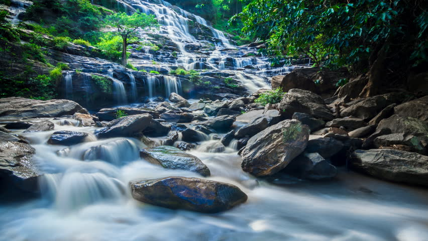 MAEYA Waterfall Famous Cascade Of Chiangmai, Thailand (time lapse, slow motion loop)