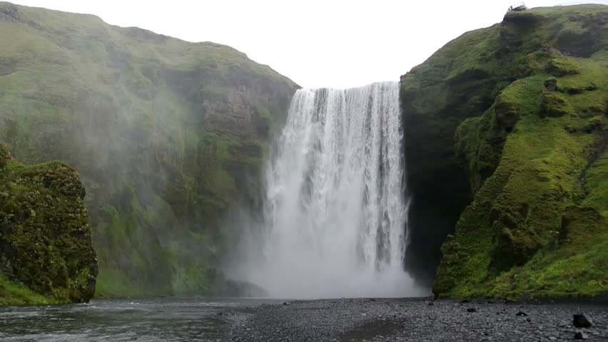 Cinemagraph of the Skogafoss waterfall in Iceland. The water is flowing, but the rest of the clip is a still. Loop ready file. #6601619