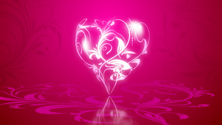 3d flowers in heart formation, on a pink background with animated elements of the pattern.