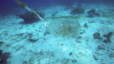 Plastic bottle floating along coral reef - underwater ocean trash