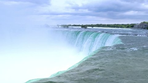 A wide establishing shot of the Horseshoe Falls on a summer day.