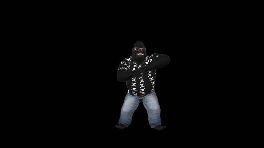 Dancing Gorilla - Solo - 2 - Loop - Alpha Channel - 3D animation of funny African gorilla male crazy dancing hip-hop for your VJ show, party, music clip, ringtone, website, screen saver, dvd menu...