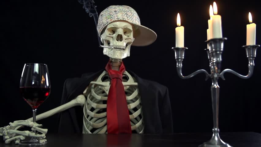 Image result for skeletons sitting at a table