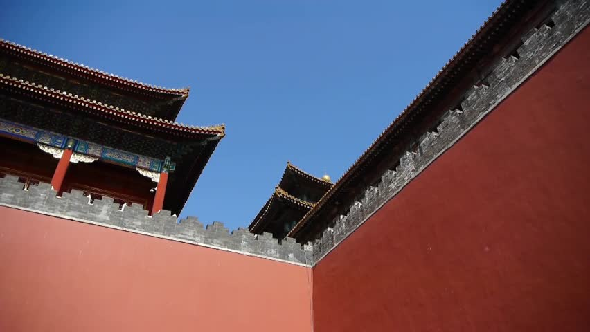 BEIJING, CHINA - SEP 5, 2013, red beijing forbidden city wall,China's royal Meridian Gate. gh2_05705