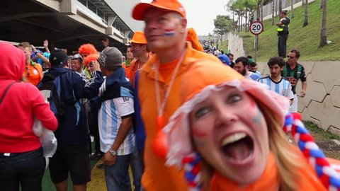 SAO PAULO, BRAZIL - CIRCA JULY: Dutch Fans going to the match Argentina x Netherlands in 2014 World Cup