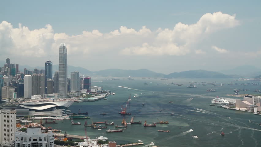 Hong Kong island skyline and pair of eagles flying over the city. | Shutterstock HD Video #6797947