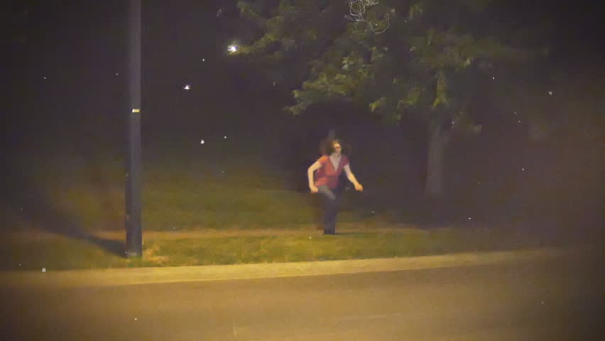 Cheesy horror, woman being chased by chainsaw madman  tv interface style #6813361