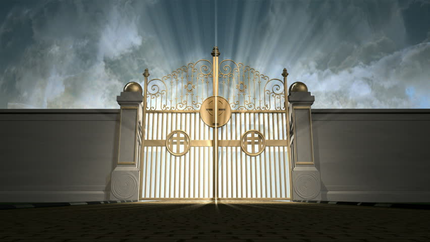 Heavens golden gates opening to an ethereal light on a cloudy background