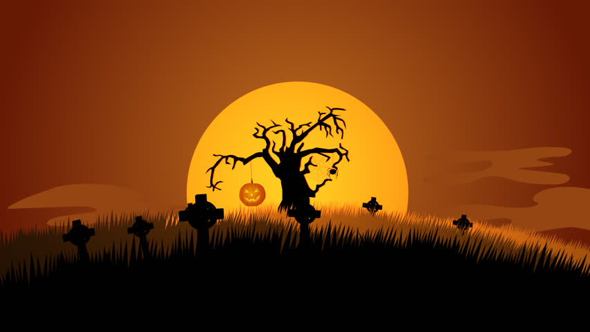 01597 a creepy graveyard halloween background scene with graves evil pumpkins spider and spooky - Halloween Background Video