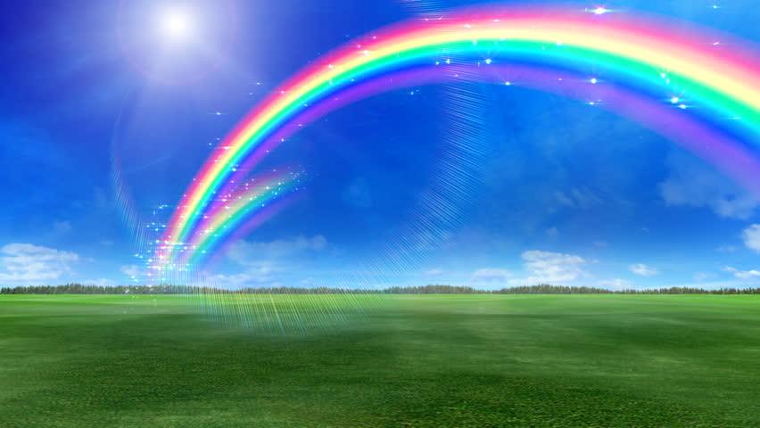 Rainbow over green grass. | Shutterstock HD Video #686974