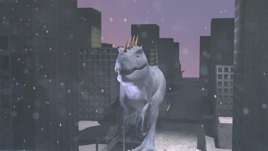 Godzilla type monster in the city | Shutterstock HD Video #6872611