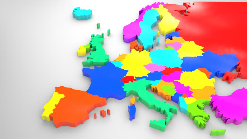 Colorful Europe Map, 2014 Political Stock Footage Video (100