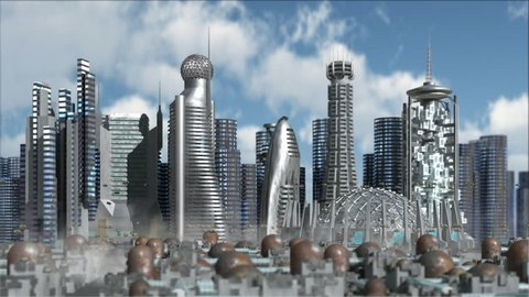 Fly in Sci-Fi future city with metallic skyscrapers and aerial vehicles