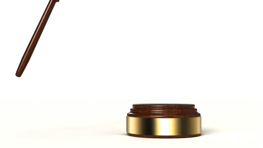 2 clips - 3D animation of gavel hitting the sound block over white background