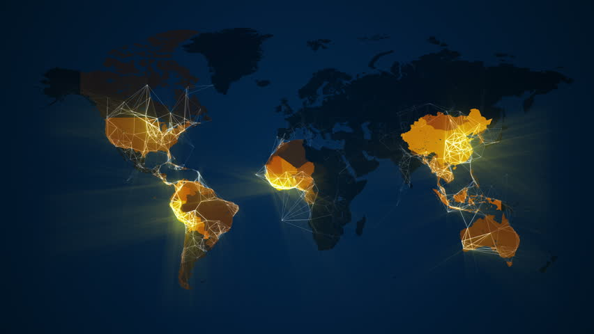 Loop animation of an illuminated world map. A network of lines connect cities. Countries light up in yellow on a dark blue background. Representing communication, transportation, internet etc. In 4K.