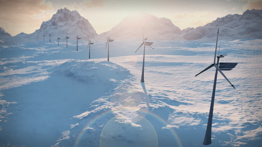 (1152b) Electricity Wind Turbines Farm Power Clean Alternative Energy Winter Snow LOOP.