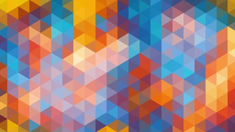 Abstract background loop of triangles in a geometric pixelated mosaic tile pattern. The triangles fit into diamond and hexagon shapes. Orange, blue and yellow color scheme. In 4K ultra HD.