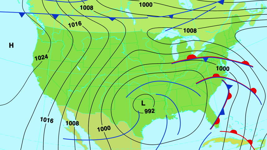 Animated Weather Forecast Map Of United States Of America With Isobars Cold And Warm Fronts