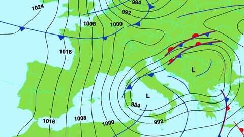 Animated weather forecast map of central and south Europe (Great Britain, Germany, France, Italy, Spain etc) with isobars, cold and warm fronts, high and low pressure systems. In 4K ultra HD.