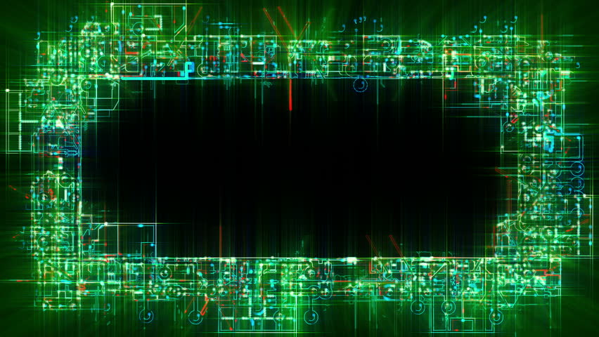 abstract electronic circuits frame border loop stylized circuit boards depicting computers networks etc three options of luma mattes alpha channels - Electronic Frame