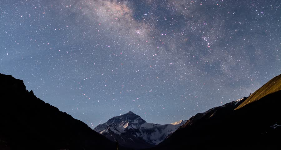 4K Timelapse Movie of Everest mt with Milky Way. from Tibet, China